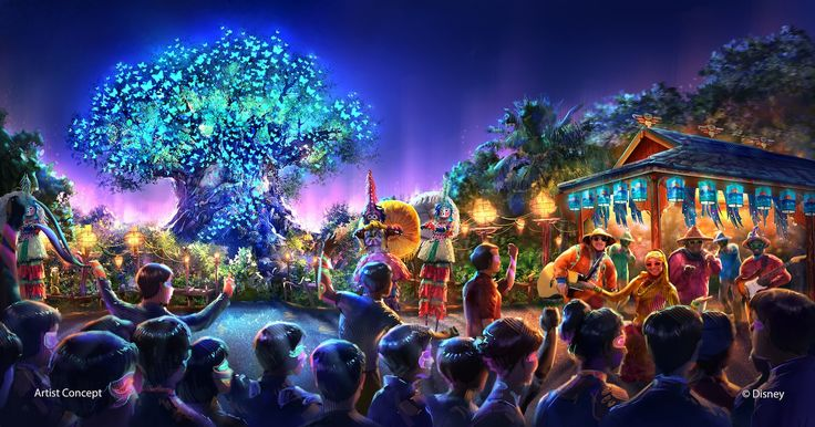 As part of the largest expansion in its history, Disney's Animal Kingdom theme park will be adding all-new entertainment experiences including a new after-dark spectacular centered around and above Discovery River, new nighttime entertainment including live performers on Discovery Island (pictured) and a new night version of Kilimanjaro Safaris. (Concept art, Walt Disney Imagineering)